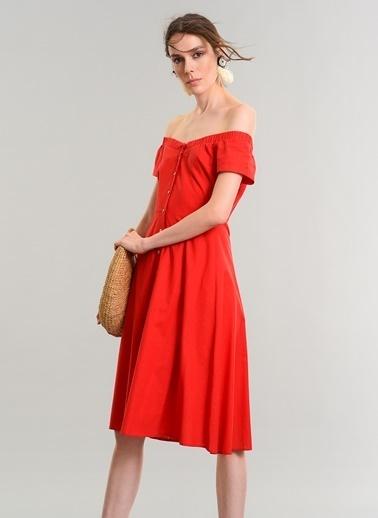 People By Fabrika Carmen Yaka Elbise Kırmızı